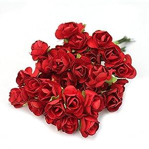 Qingsun 144pcs Mini Artificial Paper Rose Flower Buds Bouquet DIY Wedding Card Party Decor() 57