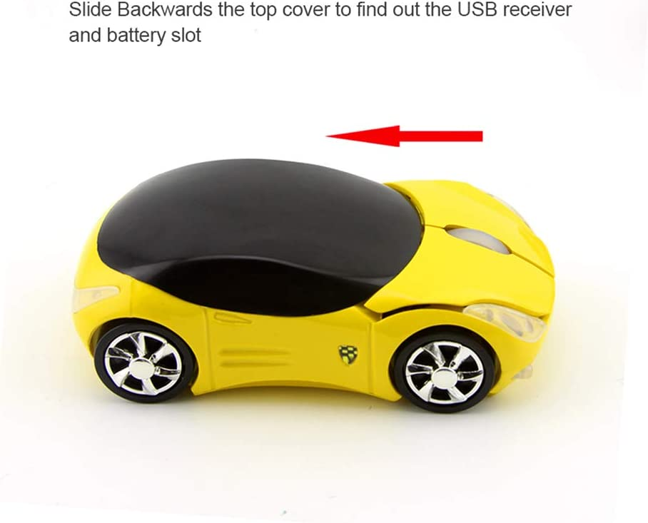 Mini Sized 2.4GHz Wireless Mouse Car Shape Optical Cordless Mice with USB Receiver for PC Laptop Computer Kids Girls Small Hands