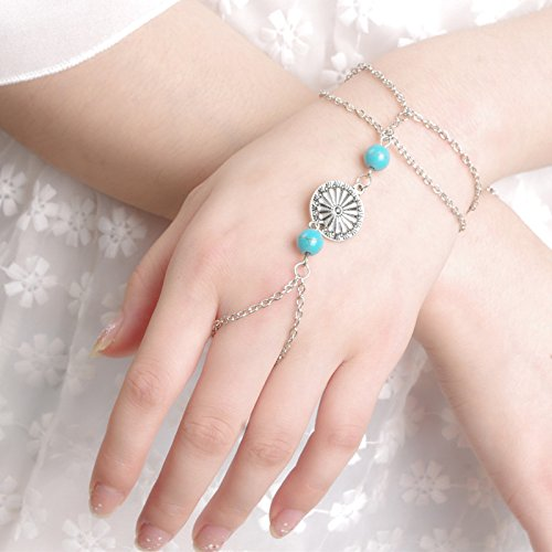 The new design of the original European and American jewelry retro style metal faceplate democracy turquoise beaded tassel bracelet women Mittens (Turquoise Faceplates)