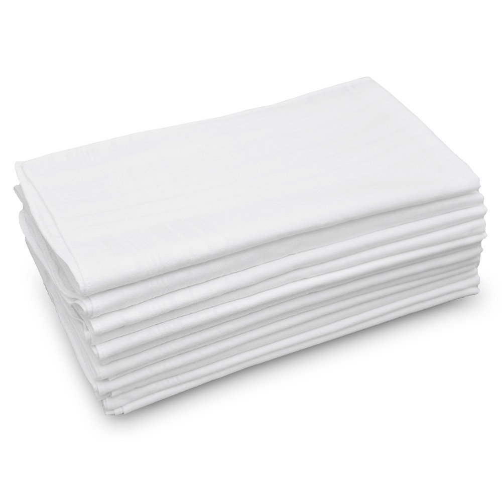 GB Classic Men's Handkerchiefs 100% Cotton Solid White with Stripe 17'' Large 12 Pack Hankies