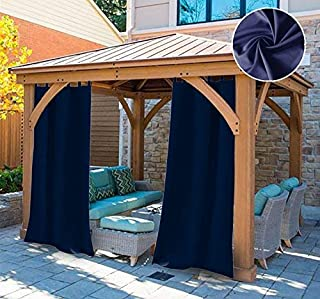 UniEco Outdoor Curtain Garden Patio Balloon Curtains Blackout Curtains Waterproof Mildew Resistant for Pavilion Beach House, 1 Piece, 132x215cm, Dark Blue