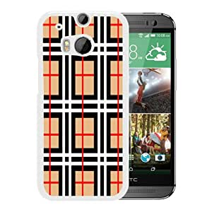 HTC ONE M8 Case,Burberry 7 White HTC ONE M8 Screen Cover Case Charming and Elegant Design