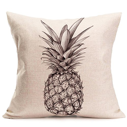 Qinqingo Colorful Pineapple Cushion Cover Cotton Linen Throw Pillow Case 18x18 Inch (BL07)