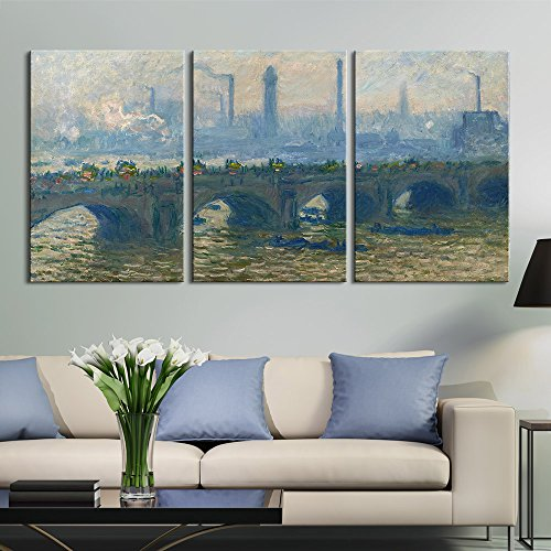 wall26 3 Panel Canvas Wall Art - Waterloo Bridge, Overcast, 1903 by Claude Monet - Giclee Print Gallery Wrap Modern Home Decor Ready to Hang - 16