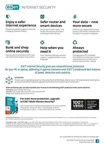 Amazon.com: Eset Internet Security 2018, 1 Device 3 Year Subscription (License Key inside package)