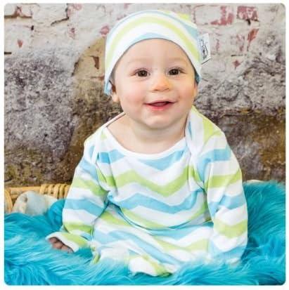 Large 24-30 lbs, Aqua Lime Chevron ModSwad Supreme Indian Cotton Baby Gown /& Hat Set