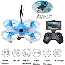 DLFPV FPV RC Drone with HD 700TVL Camera 2.4Ghz 8CH SPRACING F3 EVO Brushed Remote Control and 4.3inch 5.8G 40CH LCD Monitor DSM Receiver Altitude Hold 6-Axis Gyroscope RTF UFO Quadcopter