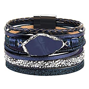 AZORA Leather Cuff Bracelet Multi Rope Wrap Bracelets with Stone Cuffs Bangle for Women Teen Girl