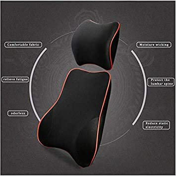 muchkey Car Lumbar Support Back Cushion /& Headrest Neck Pillow Kit Cushion Memory Foam Erognomic Design with Back Pain Relief for Ford Escape KA Fiesta ST B-max Focus ST RS C-MAX Ecosport Black