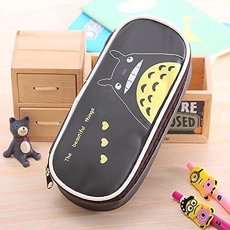 NUEVO diseño dibujos animados Totoro PU Bolsa de lápiz Estuche, Gris oscuro, 22 * 10 cm (Laugh): Amazon.es: Oficina y papelería