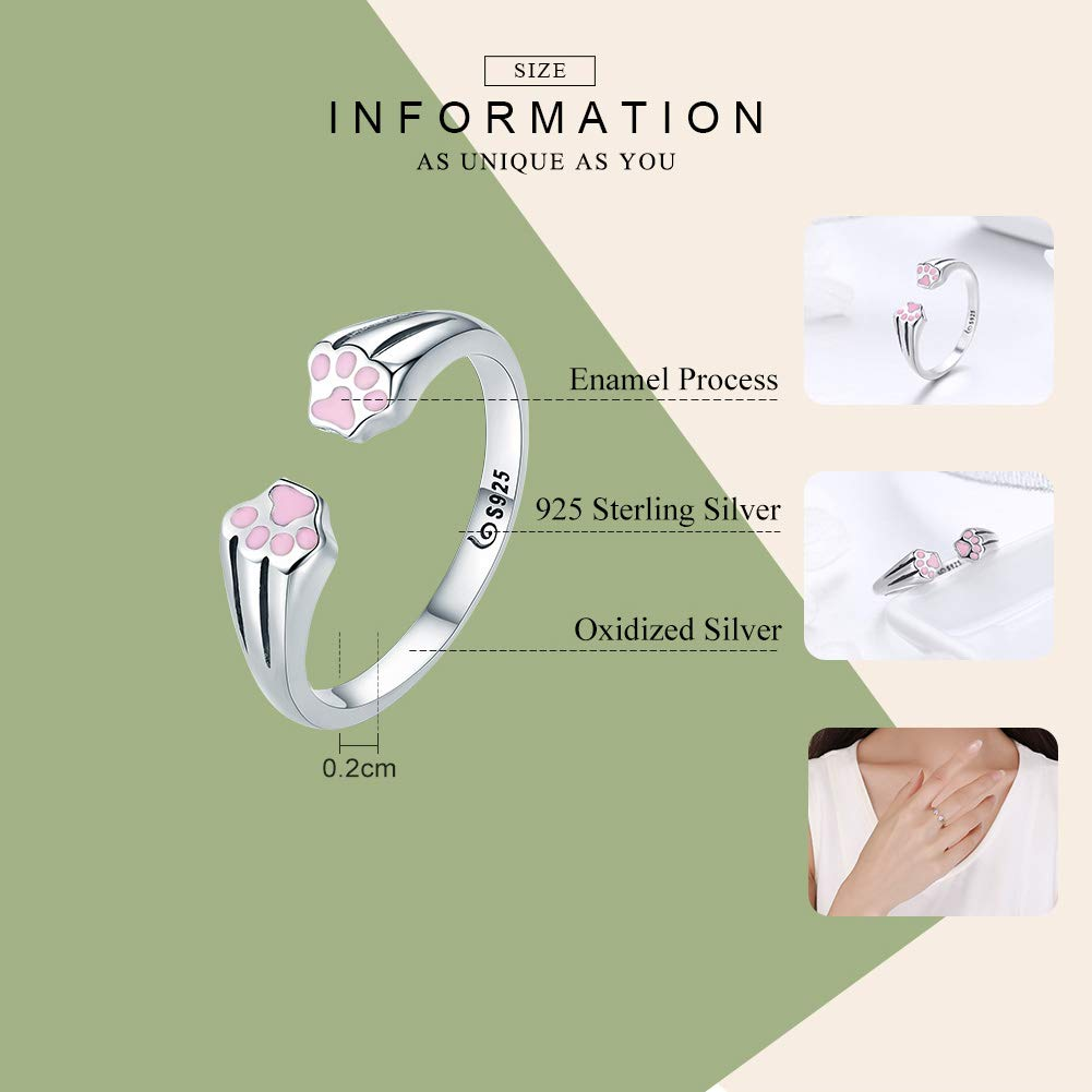 0536c5f436 Nouvelle Collection 100% Argent sterling 925Animal domestique Chien Chat  empreintes Bague pour femme Bijoux de fiançailles