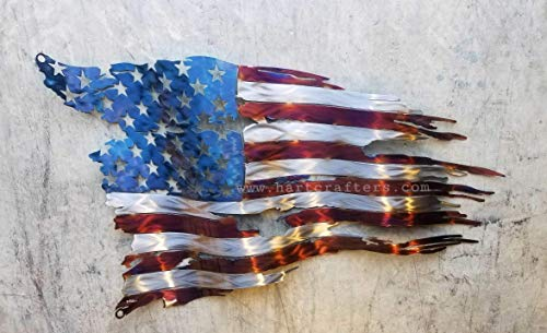 (Battle Worn American Flag - Torched (24 inches wide))