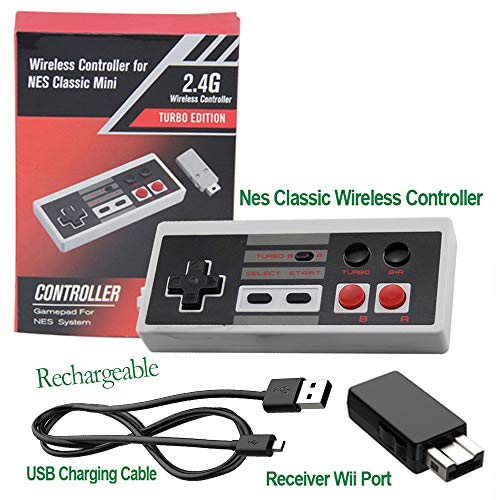 Rechargeable NES Classic Mini Wireless Controller -TURBO EDITION-Rapid Buttons Wii Edition for Nes Wii Gaming System with 2.4G Wireless Receiver