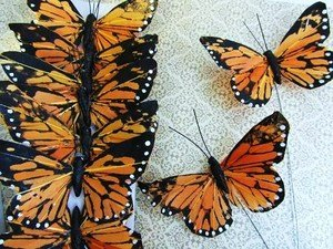 12pc Polyester 3″ Classic Monarch Butterfly with Wire Floral Arrangement Decoration (H150-A), Health Care Stuffs