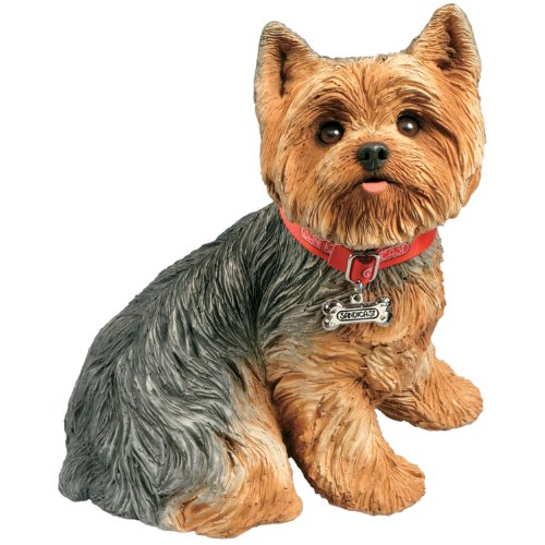 Sandicast Life Size Yorkshire Terrier Sculpture, - Sitting Bookends