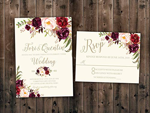 Floral, Marsala Flowers, Country Wedding Invitations Set Printed, Rustic Floral Wedding Invitation, Southern, Autumn]()