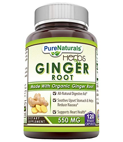 Natural Ginger - Pure Naturals Ginger Root Supplement - 550mg Capsules - Easy to Swallow Capsule - Commonly Used Natural Remedy for Nausea Due to Pregnancy & Other Conditions - 120 Pills Per Bottle