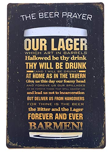 (Flytime The Beer Prayer Tin Signs Vintage Funny Home Wall Decor Retro Metal Whiskey Bar Pub Poster Garage Diner Sign 8X12Inch)