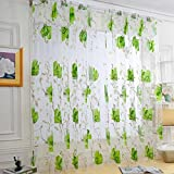WensLTD Clearance! 1PC Vines Leaves Tulle Door Window Curtain Drape Panel Sheer Scarf Valances (Green)