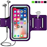 Cell Phone Armband for iPhone X,XR,XS 8 7 6 6S, Samsung Galaxy S8 S7, with Case (Otterbox/Lifeproof), Running Fitness Exercise Workout Sport case Water Resistant Key/Card Holder, Cable Locker[Purple]