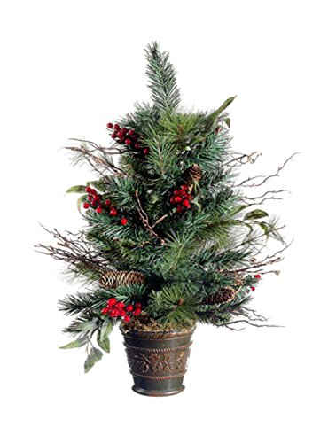 Allstate Unlit Potted Pine Cone Berry Winter Vermont Pine Artificial Christmas Tree, 26