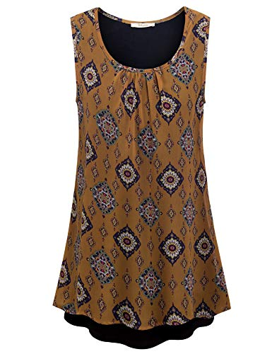 (Bebonnie Loose Tunics for Women, Swing Tunic Tank Tops for Women Sleeveless Junior Tunics Blouse Double Layers Chiffon Tops for Summer for Leggngs Flowing Cami Tops Multicolor Brown XL)
