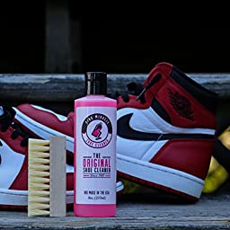 Shoe Cleaner by Pink Miracle 8 Oz. Bottle Kit Fabric Cleaner Solution For Leather, Whites, Nubuck Boots