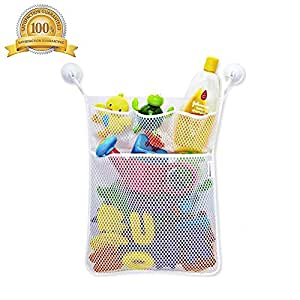 Bath Tub Toy Organizer Large Storage Mesh, 2 Ultra Strong Hooked Suction Cups - For Kids, Toddlers, Adults, Playing for Bathtime