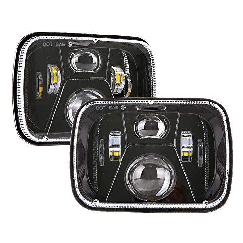 BICYACO DOT 110W 5x7 Led Headlights 7x6 Hi/Low Led Sealed Beam Headlamp for Jeep Wrangler YJ Cherokee XJ Chevy S10 H4 Plug H6054 Headlights H5054 6054 6052 Toyota Pickup(1 Pair) - Toyota Celica Replacement Parts