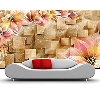 Image of Ai Ya-bihua 3D Wallpaper Big Dream Lily Marble Background Living Room Bedroom TV Background Mural Photo Wallpaper Papel de Parede