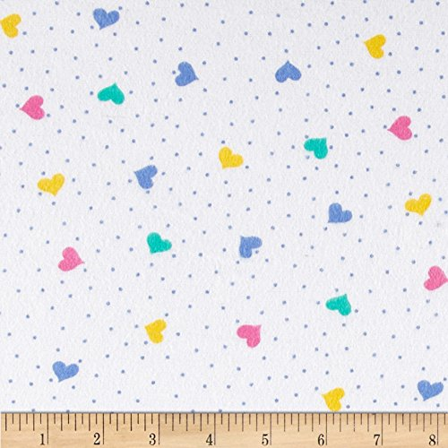 Flannel Fabric Hearts - A.E. Nathan 0372242 Comfy Flannel Hearts White/Multi Fabric by The Yard, Multicolor