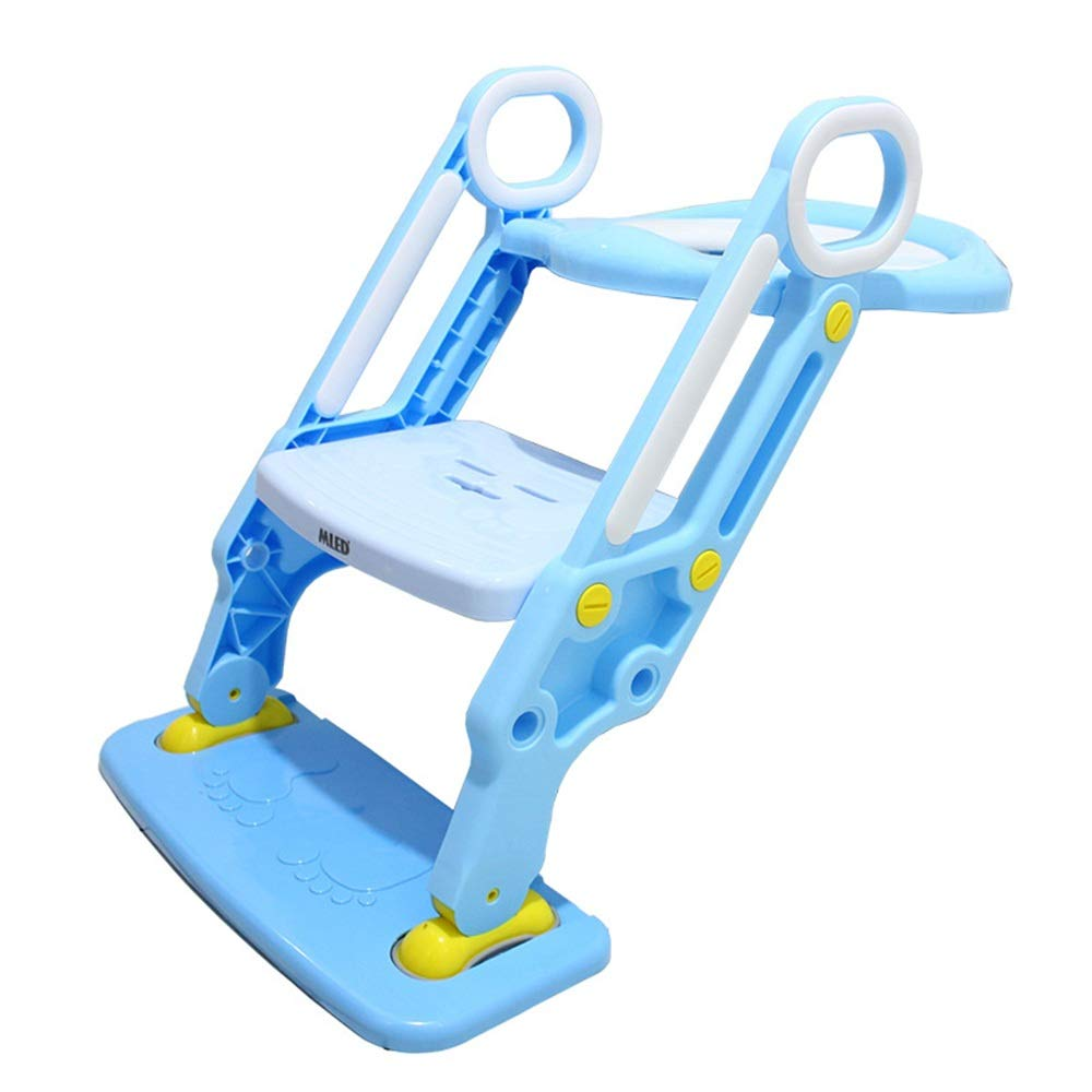 Fklee Potty Training Seat for Toddlers Toilet Seat Kids Potty Trainer Seats with Soft Cushion Handles and Sturdy Non-Slip Ladder Step Potty Ladder for Boys and Girls (Color : Blue, Size : One Size)