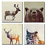 beer artwork - Gardenia - Animal Double-exposure Photography Canvas Wall Art Prints 12 x 12 Inch Stretched and Framed Modern Decor Paintings Giclee Artwork for Living Room and Bedroom Decoration Beer Sika Deer & Owl
