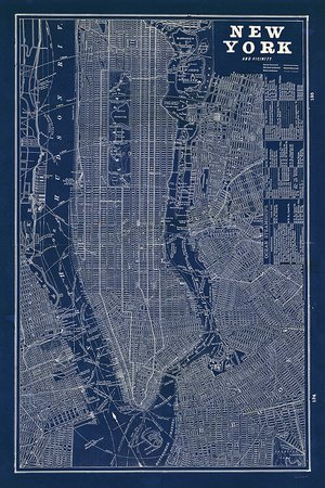 Amazon blueprint map new york art poster print by sue blueprint map new york art poster print by sue schlabach 24x36 malvernweather Image collections