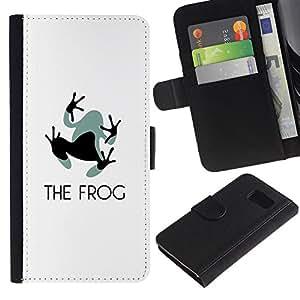 KLONGSHOP / Tirón de la caja Cartera de cuero con ranuras para tarjetas - Feet Small Grey Black Animal Art - Samsung Galaxy S6 SM-G920
