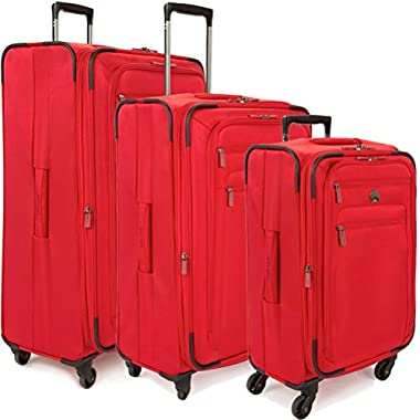 Delsey Helium Sky 2.0 3 Piece Set Spinner Trolley (One Size, Red)