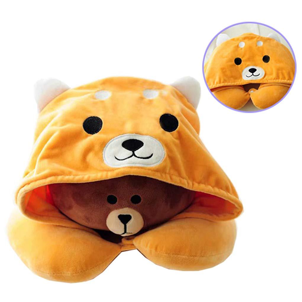 Amazon.com: BuryTony Soft Hooded U-Shape Neck Travel Pillow ...