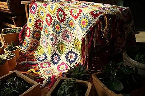 Campo nórdicos hecho a mano tejido a ganchillo manta, toalla de alfombra de punto, sofá, sofá cojín, diseño de flores, Set de alfombrillas, ...