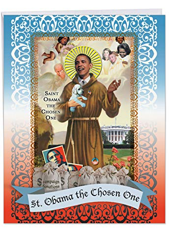 XL Funny Birthday Card - 'st Obama' With Envelope 8.5 x 11 Inch - Big Happy Birthday Greetings Card for Big Wishes, Surprises and Gifts - Adult Humor Obama Card J0475 (Michelle Obama Best Moments)