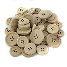 Pack of 50 Mixed Size Natural Wooden Round Buttons for Sewing Crafting