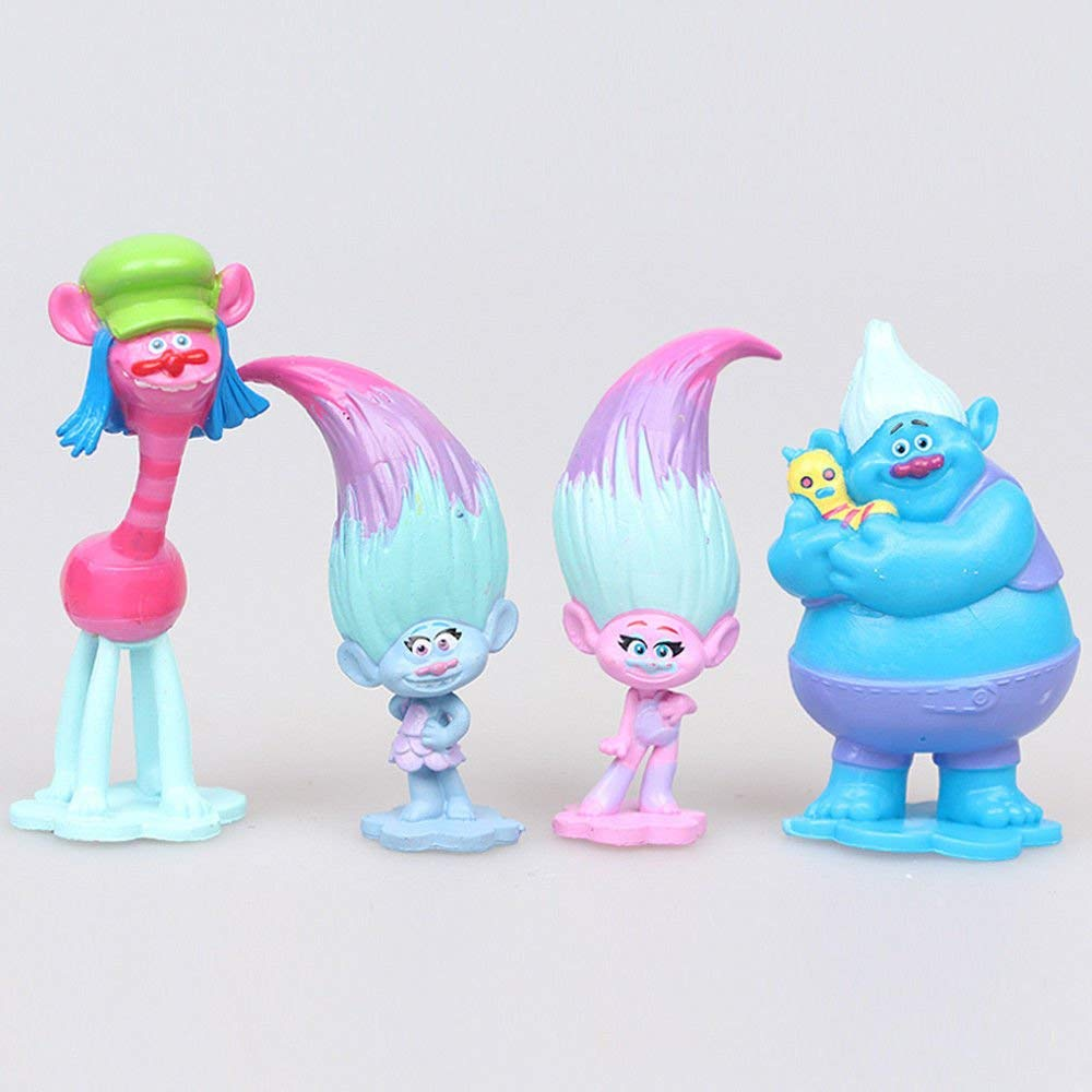 Set of 6, 3-Inch-Tall Action Figures from Movie Trolls by ATII
