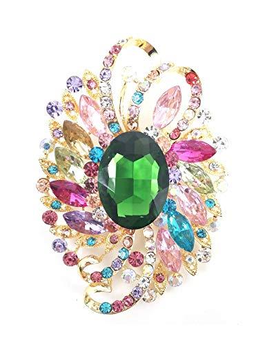 AZfasci Bouquet Brooch Wedding Dress Flower Austrian Crystal Rhinestone Corsage Pin (C Multicolor Green)