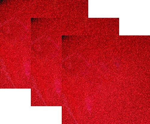 10x12(1 Foot) 3-Sheets,Siser Glitter Iron-on Heat Transfer Vinyl HTV for T-Shirts(Red)