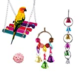papasgjx Bird Rope Swing, Bird Toys Hanging Bell, Colorful Hanging Bells and Wooden Hammock Budgie Toys Pet Bird Cage Hammock Swing Hanging Toy for Small Parakeets