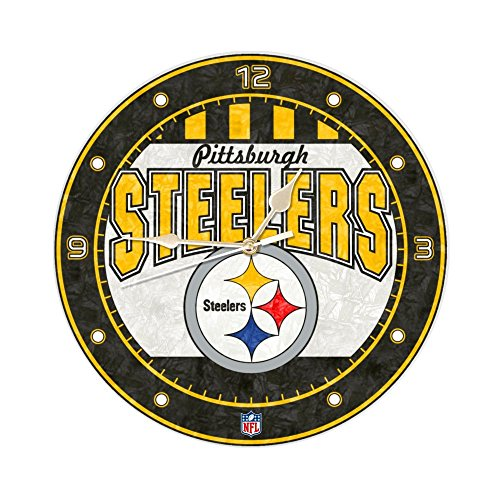 The Memory Company Pittsburgh Steelers 12 Inch Art Glass Clock (Pittsburgh Steelers Fan Memories)