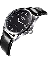 Mens Watches Automatic Mechanical Black Dial Leather Strap Wrist Watch