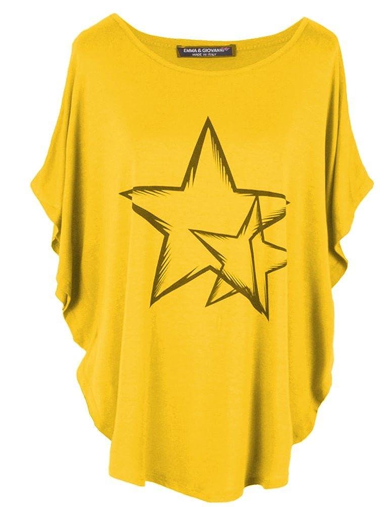 Emma & Giovanni - Kimono T-Shirt/Oberteile Kurzarm elegant - Damen S/M) 9932-mout-sm