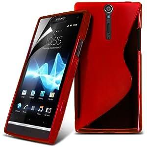 (Rojo) Sony Ericsson XPERIA ARC X12 / XPERIA ARC S Línea protectora cubierta de la caja de gel Piel y Protector de pantalla LCD de Spyrox