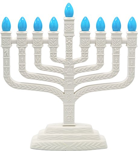 (Menorah Electric With Teal Blue Bulbs Knesset Design )