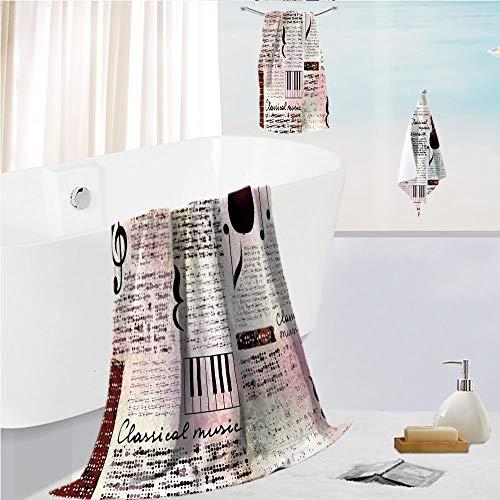 Bath towel 3 pieces hand towels set Microfibe Customized bath towel combination,Music Theme Instruments Piano Violin Notes Symbols,Customized bath towel combination Quick Drying & Super Absorbent -